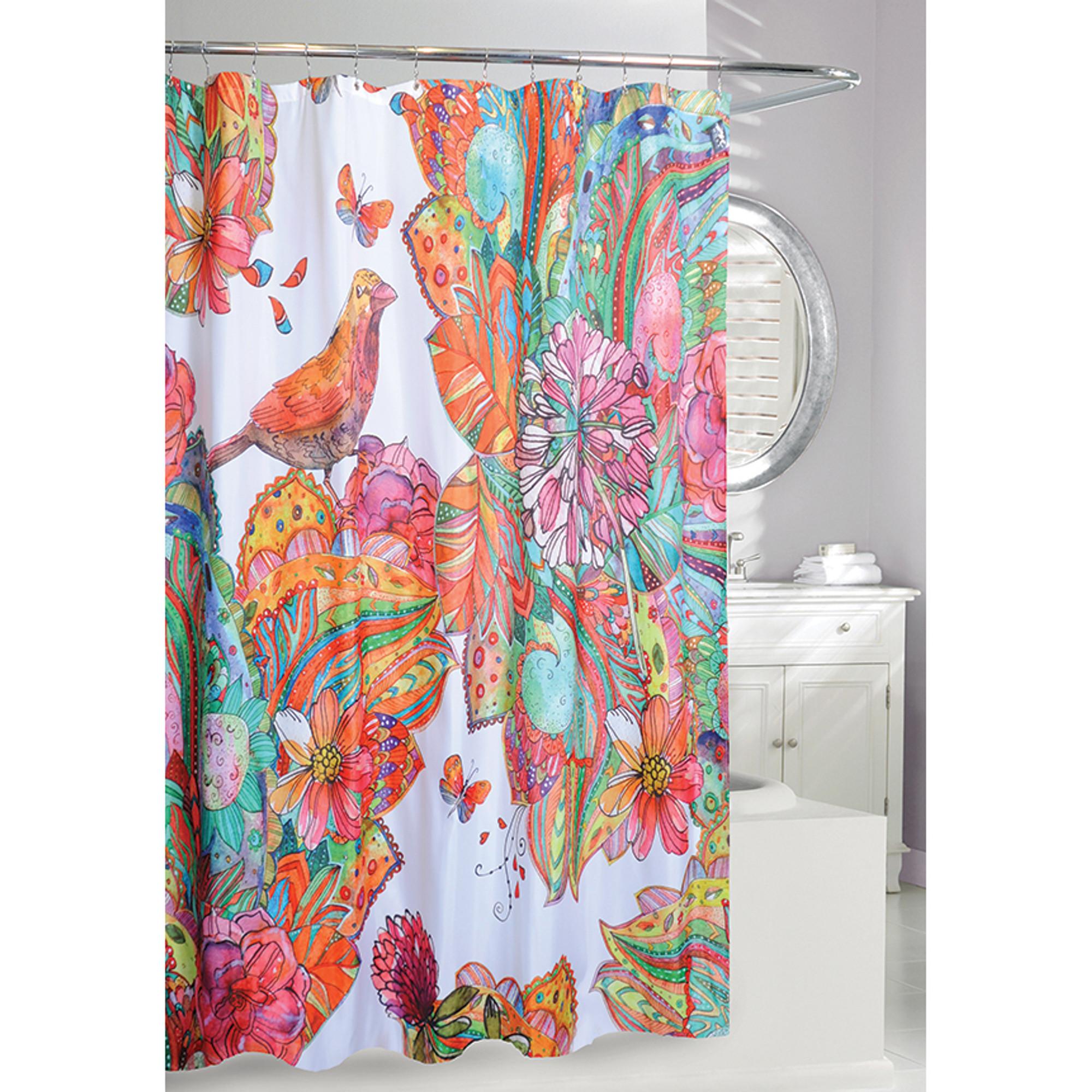 birds and flowers fabric shower curtain art journal