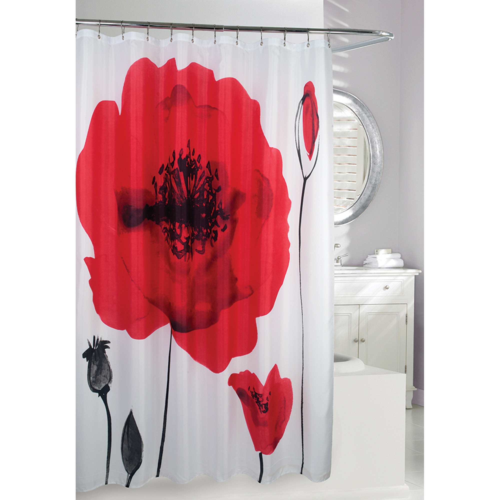 poppy explosion fabric shower curtain