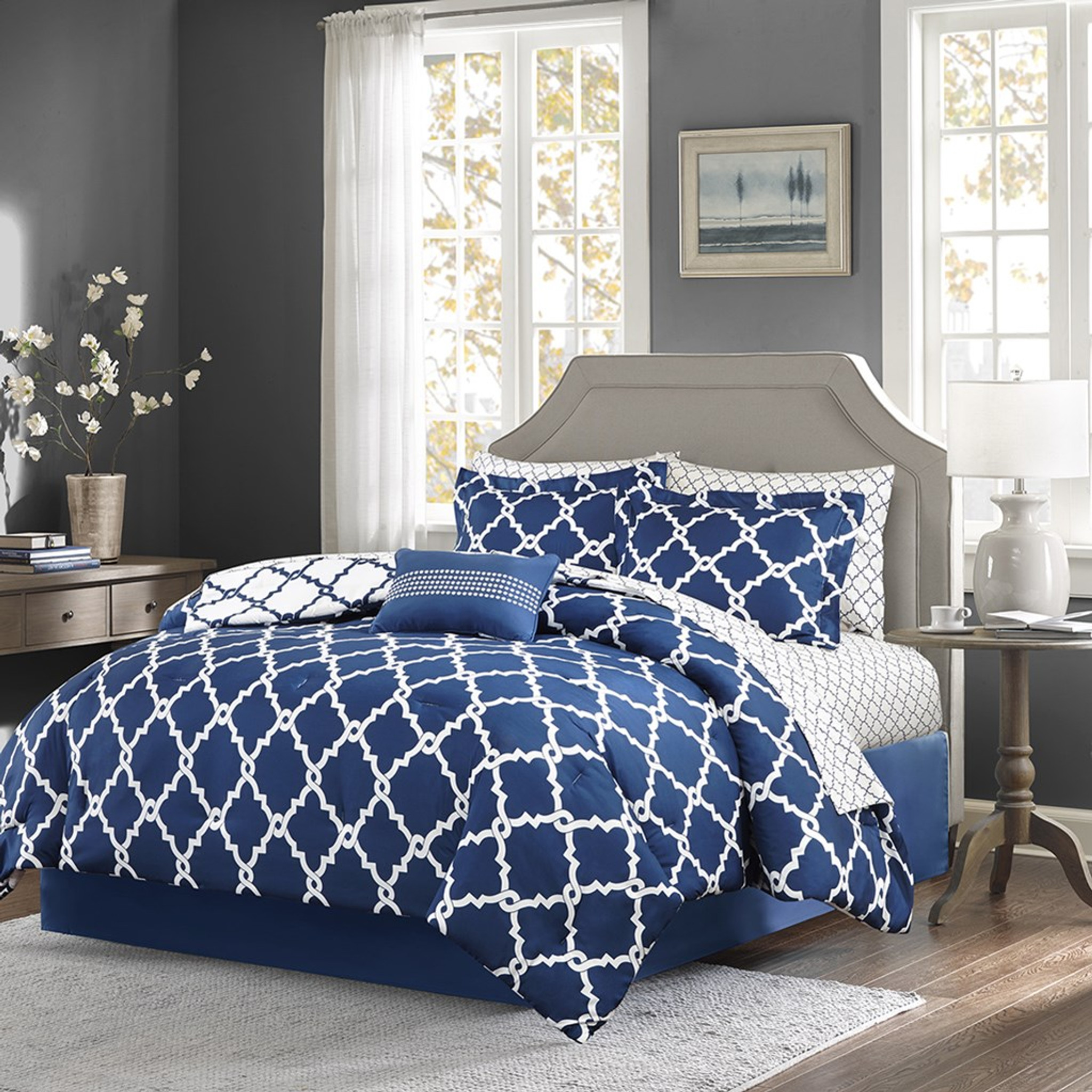 navy and white fretwork comforter set queen size