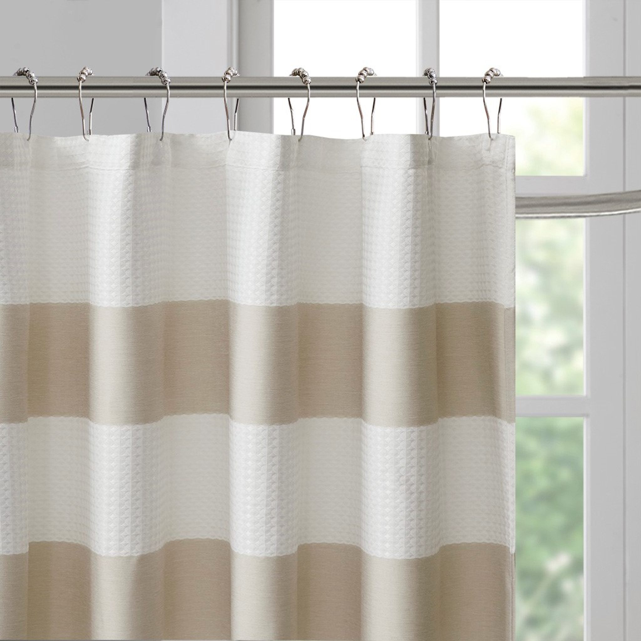 spa 84 x 72 taupe striped shower curtain