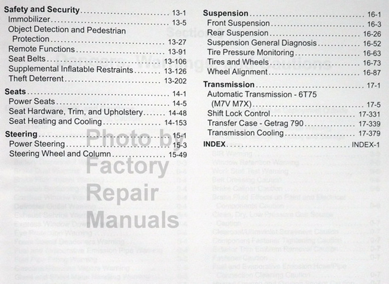 hight resolution of  2017 gm buick enclave chevrolet traverse gmc acadia limited service manual table of contents 2