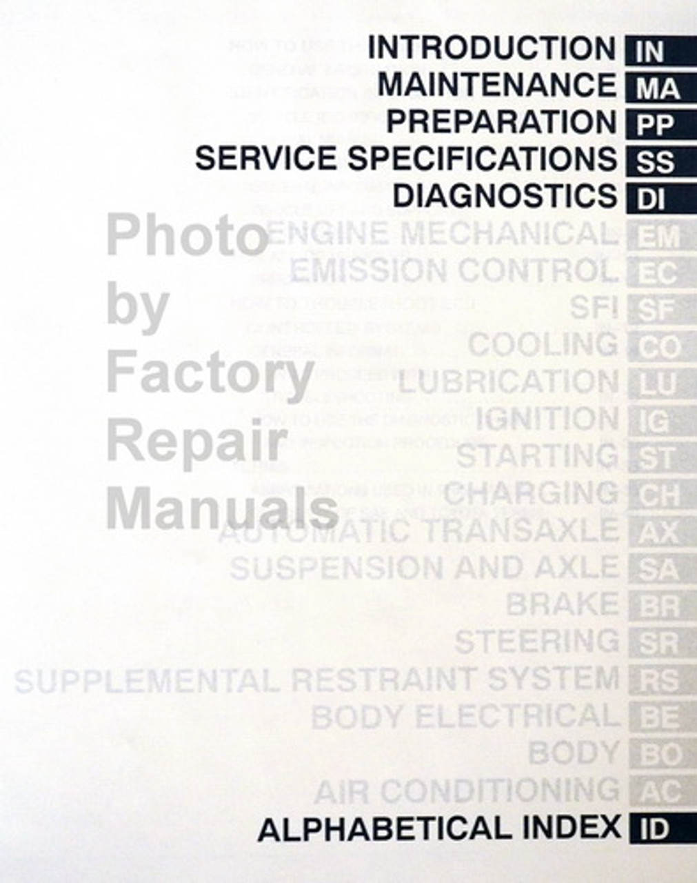 2003 Toyota Avalon Factory Service Manual