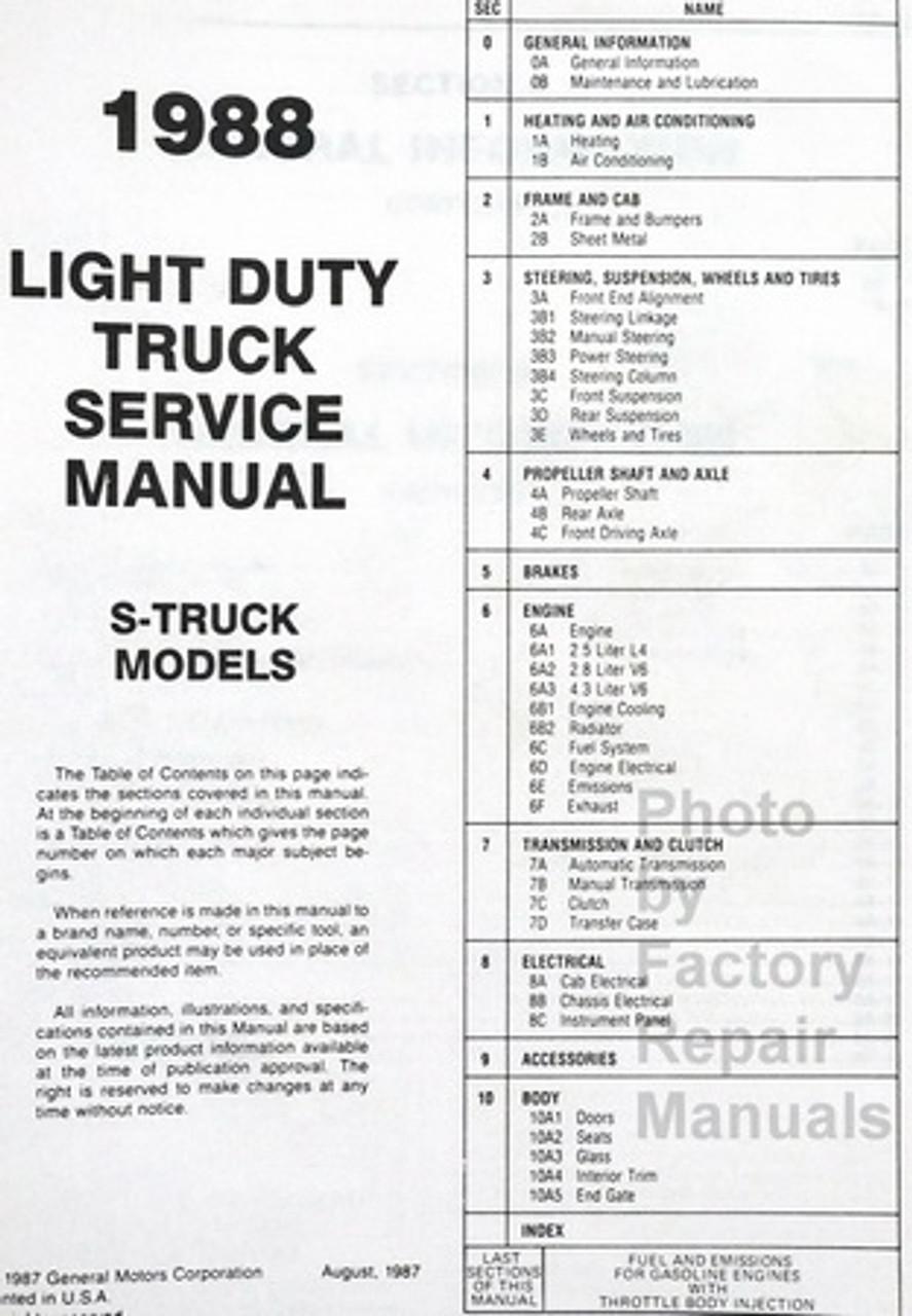 medium resolution of  1988 chevrolet s 10 light duty truck blazer shop manual table of contents