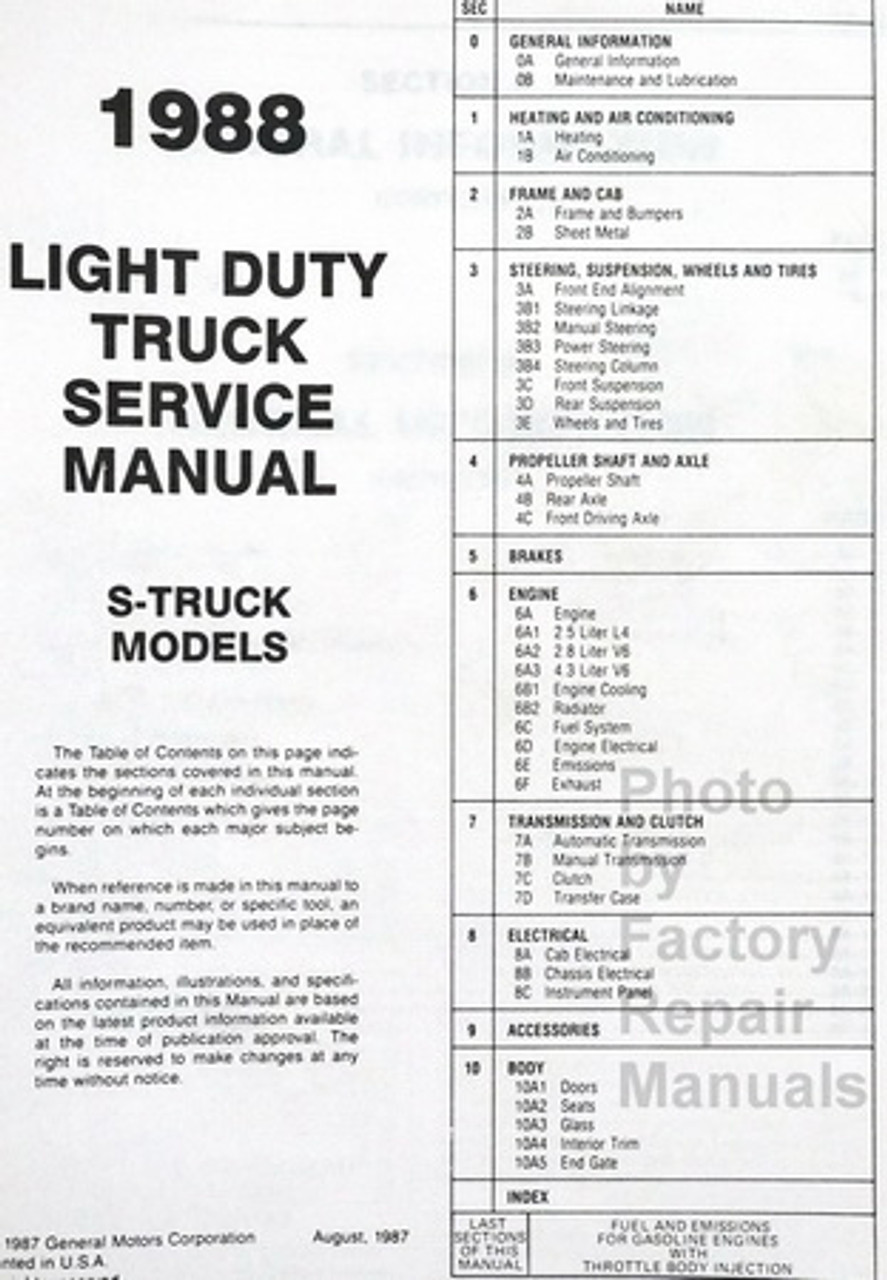 hight resolution of  1988 chevrolet s 10 light duty truck blazer shop manual table of contents