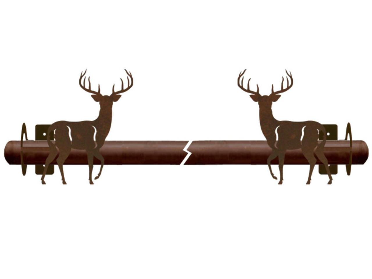 whitetail deer metal curtain rod holders