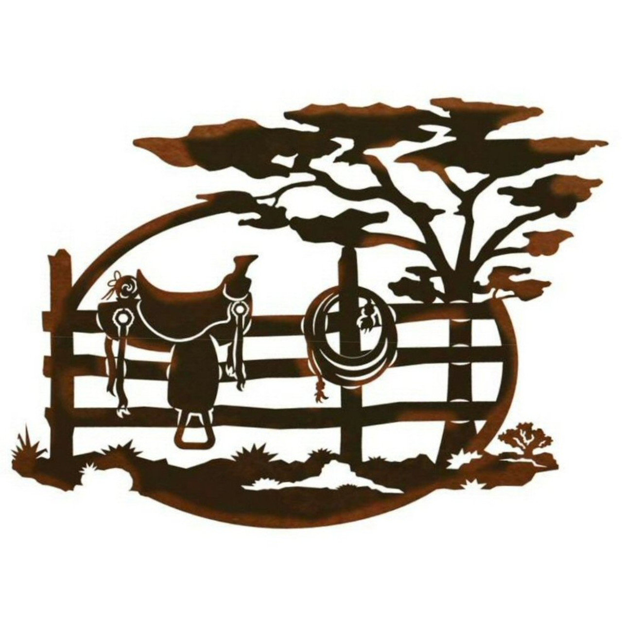 "13"" Saddle Sitting on a Fence Scenic Metal Wall Art"