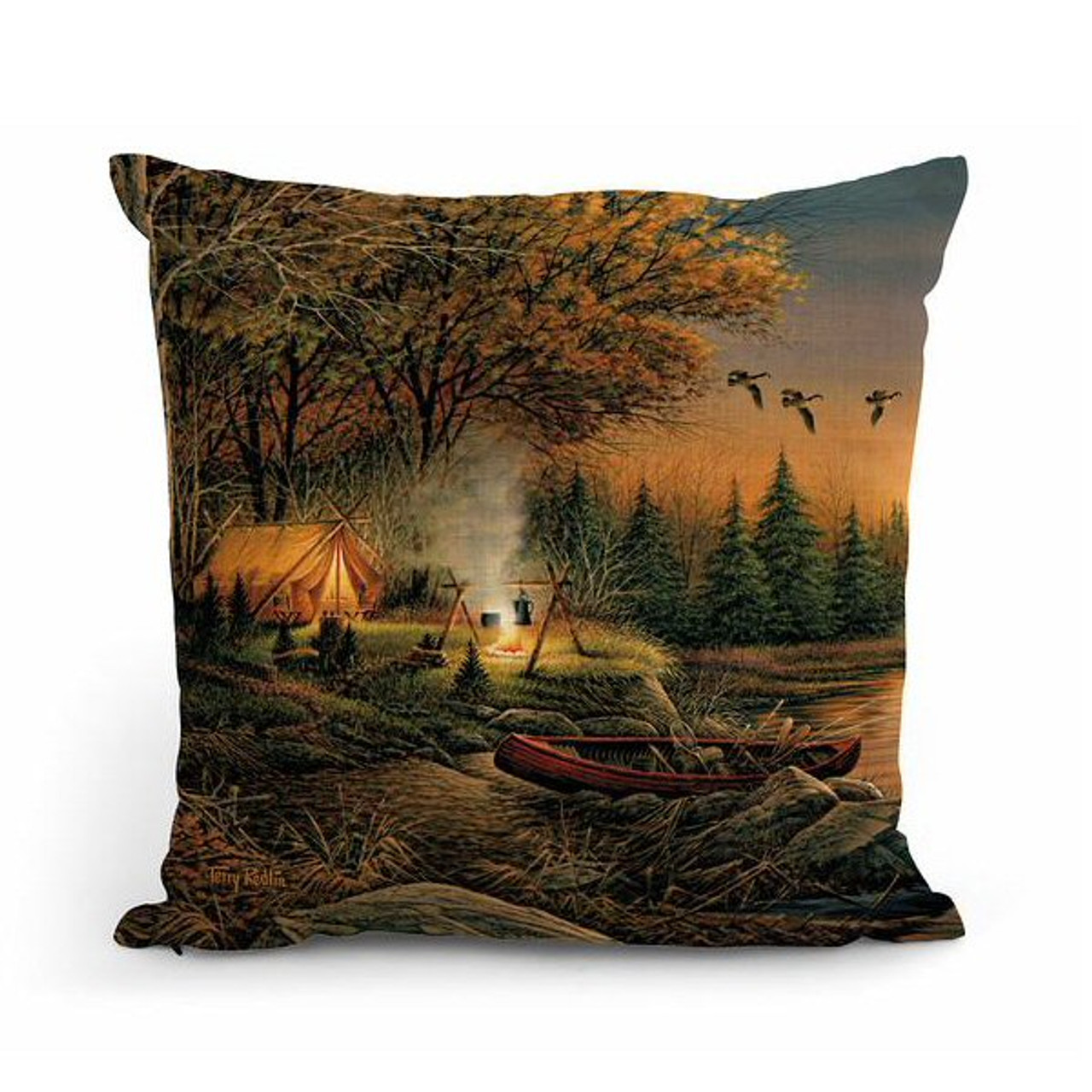 18 evening solitude camping scene square throw pillows set of 4