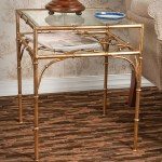 Antique Gold Iron Bamboo Table With Beveled Glass Top Dessau Home Hc587