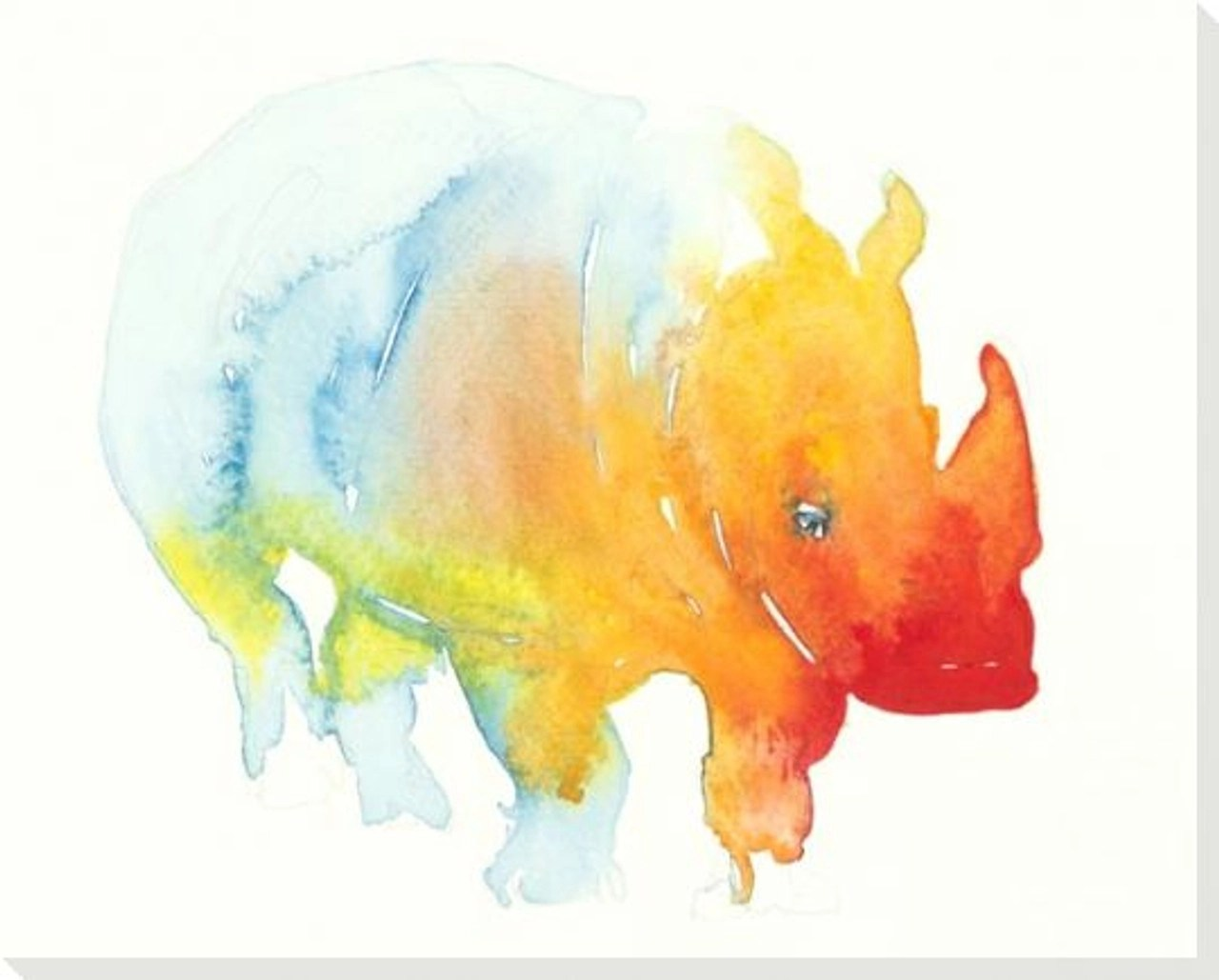 colorful rhino wrapped canvas