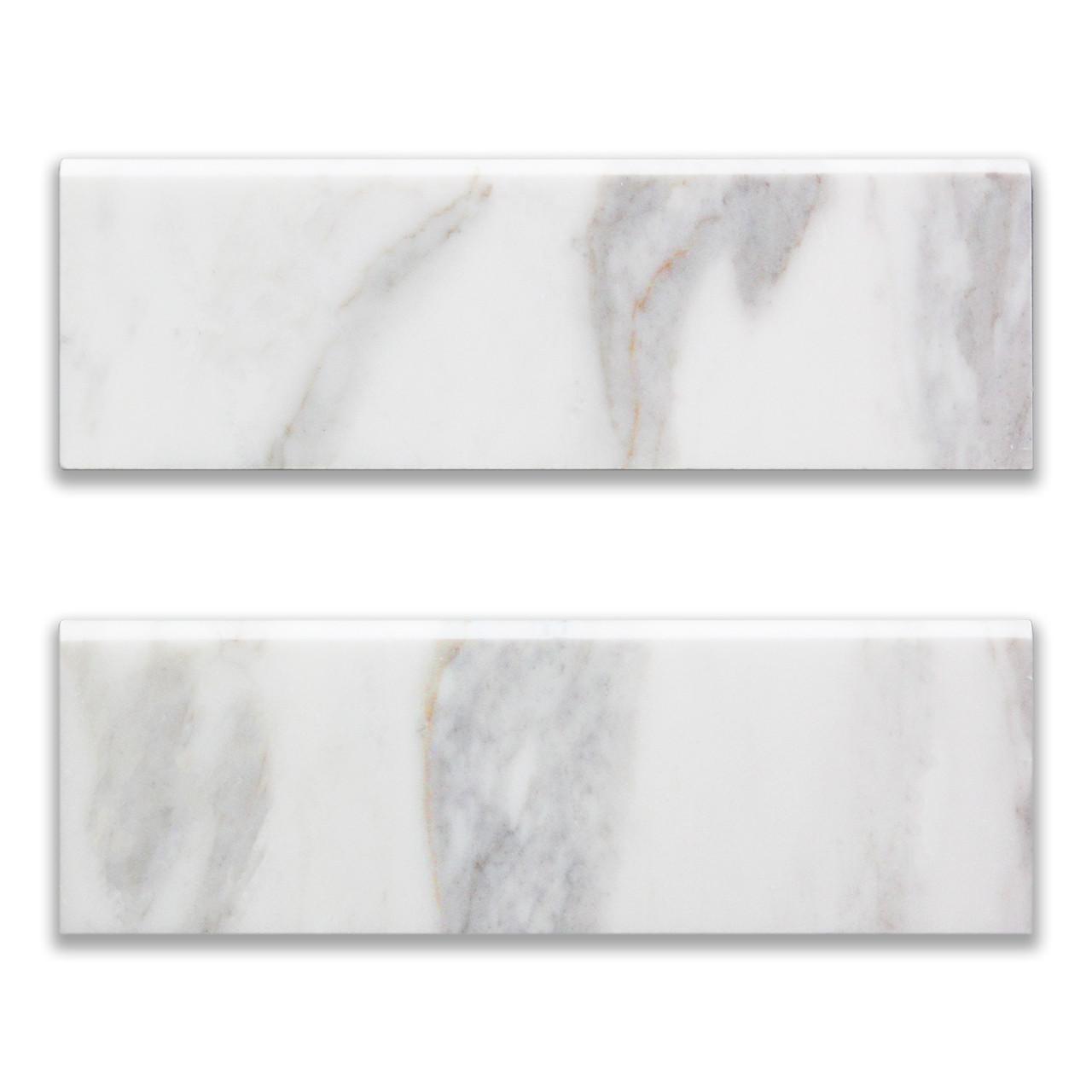 4x12 calacatta gold italian marble bullnose trim tile honed
