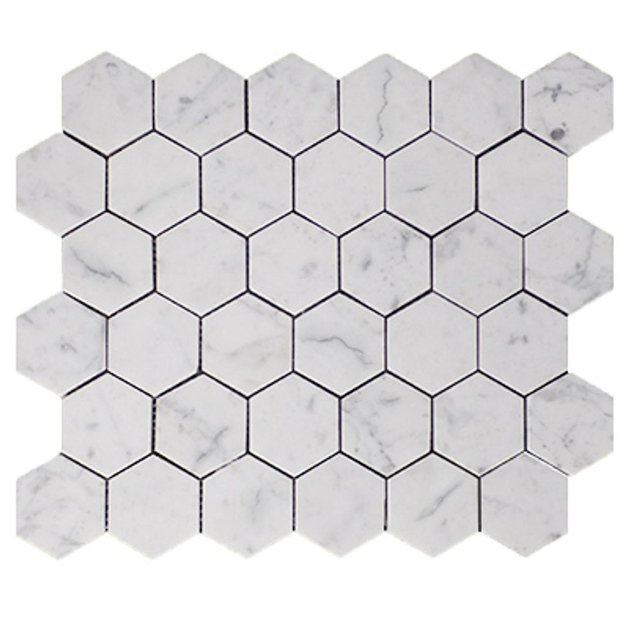 https www carraramarble com 2 inch hexagon mosaic tile honed