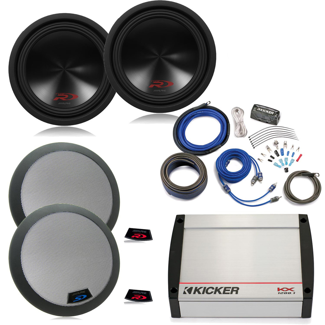 medium resolution of alpine 12 inch type r swr 12d2 subwoofers 2 grills a kicker harley davidson subwoofer speaker audio amplifiers wiring kits audi