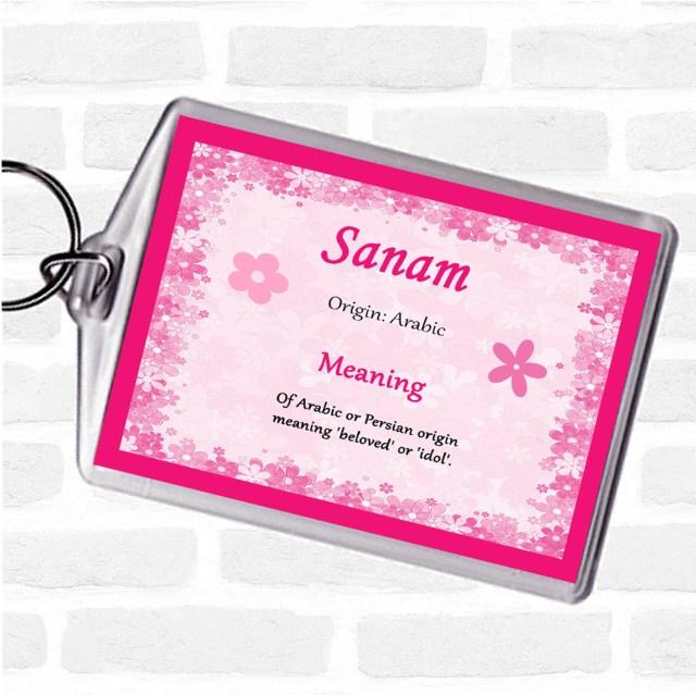Sanam Name Meaning Keyring Pink - Party Animal Print