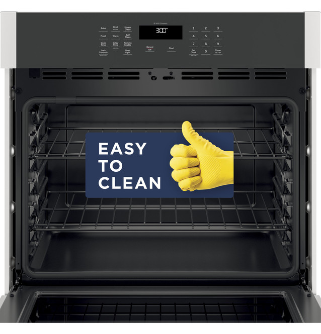 ge 30 smart built in self clean single wall oven with never scrub racks jts3000snss