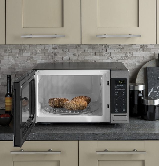 ge 1 6 cu ft countertop microwave oven jes1657smss