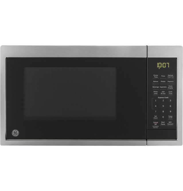 ge 0 9 cu ft capacity smart countertop microwave oven with scan to cook technology jes1097smss
