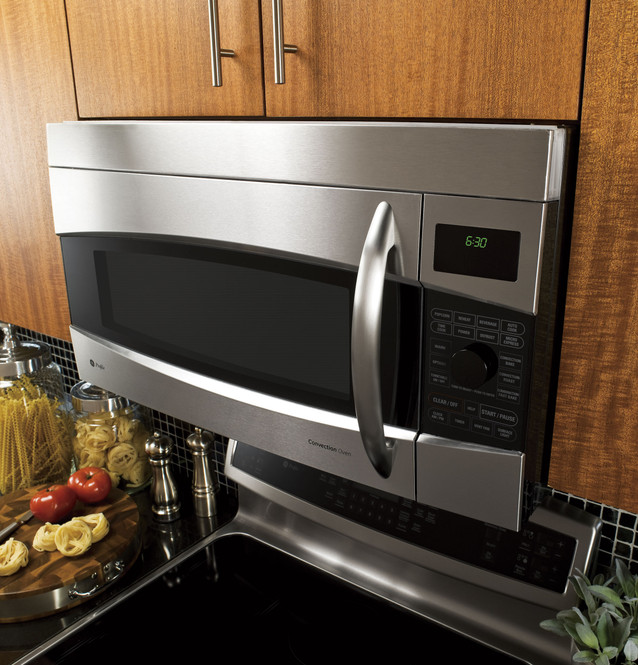 ge profile 1 7 cu ft convection over the range microwave oven pvm1790srss