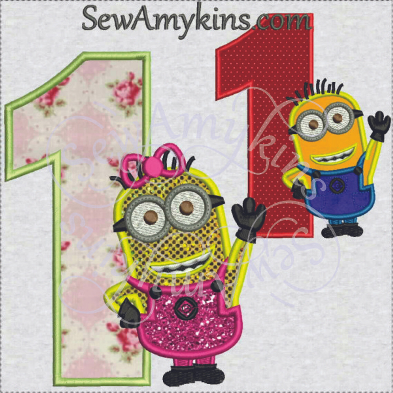 minion birthday numbers applique