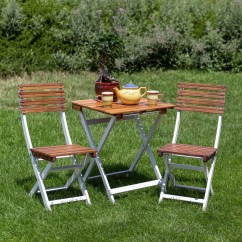 3 Piece Outdoor Table And Chairs Chair Rentals Sacramento South Park Acacia Patio Cafe Bistro Set With Square Folding