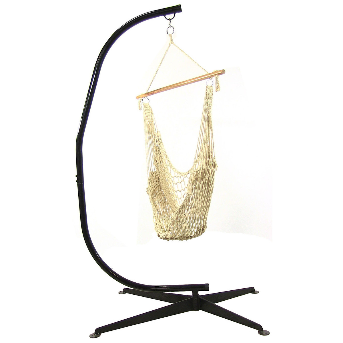 hammock chair c stand diy glider rocking cushions sunnydaze cotton rope hanging swing with 48 inch wide seat max weight 300 pounds