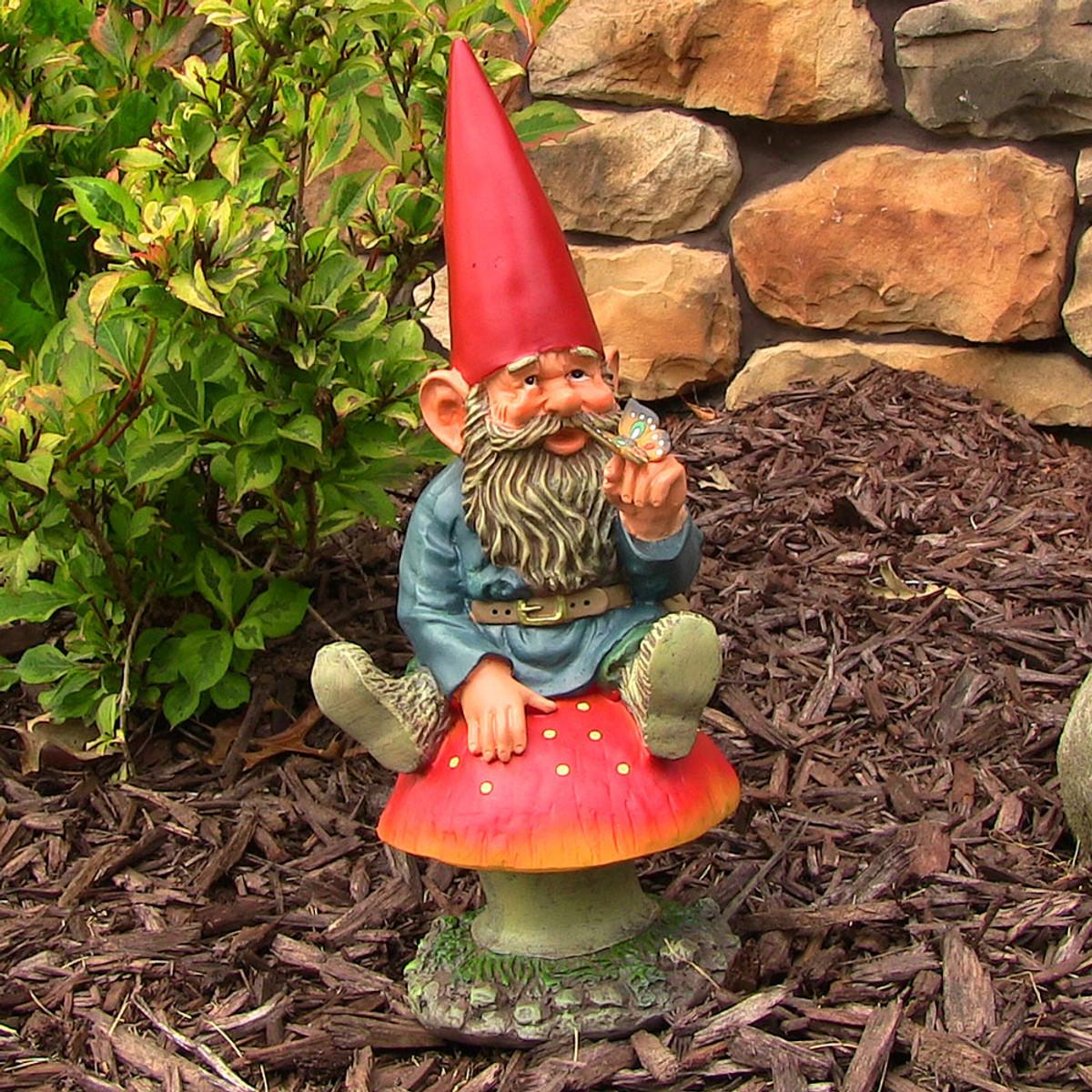 Sunnydaze Adam With Butterfly Garden Gnome 14
