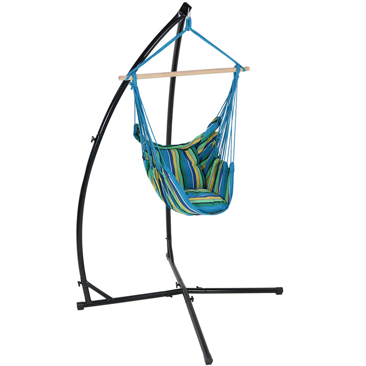 Indoor Hanging Chair With Stand Sunnydaze Hanging Hammock Swing With Two Cushions And