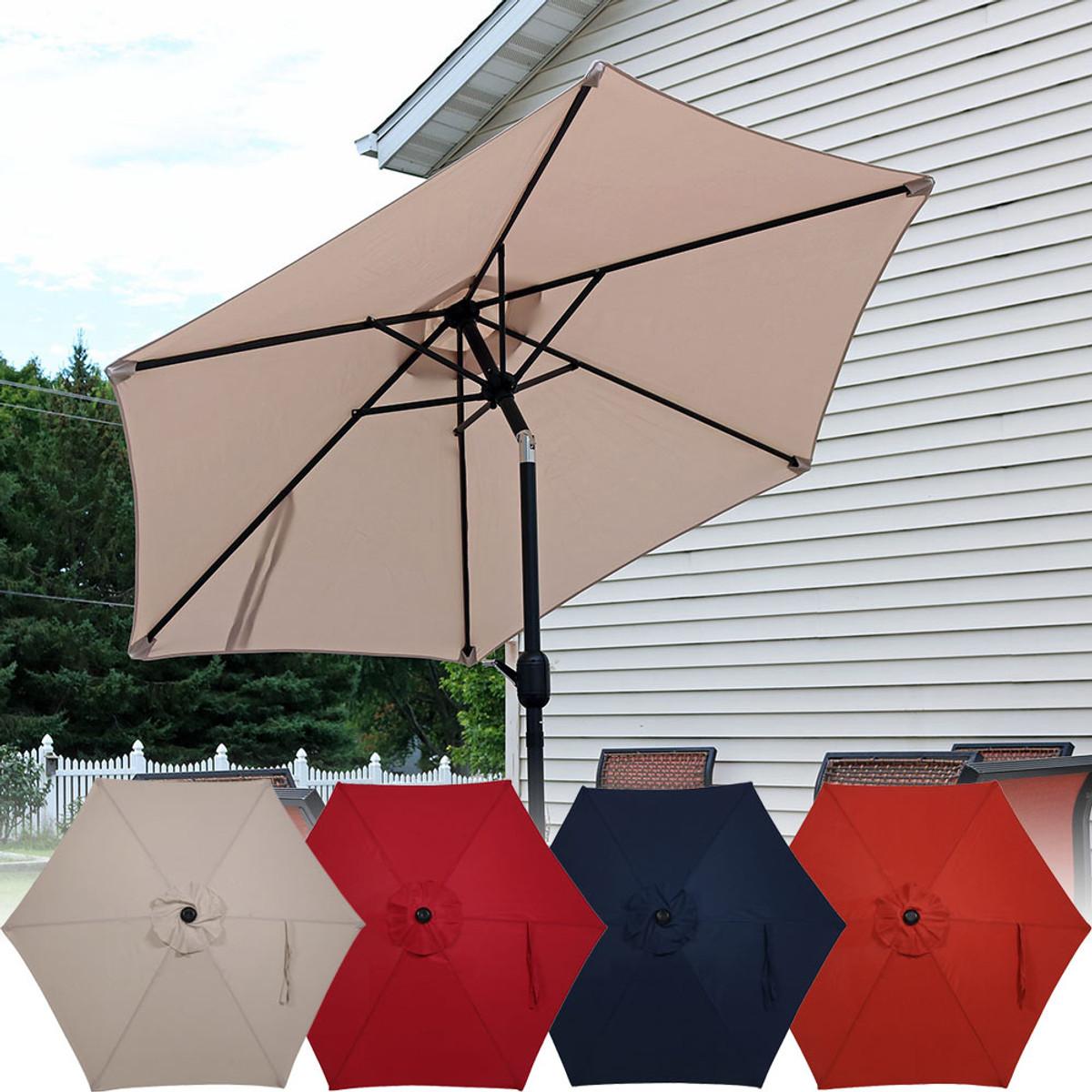 sunnydaze aluminum 7 5 foot patio umbrella with tilt crank