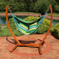 Hanging Chair Wood Folding Caddy Sunnydaze Hammock Swing With Sturdy Space Saving Wooden Stand For Indoor Or Outdoor Use Ocean Breeze