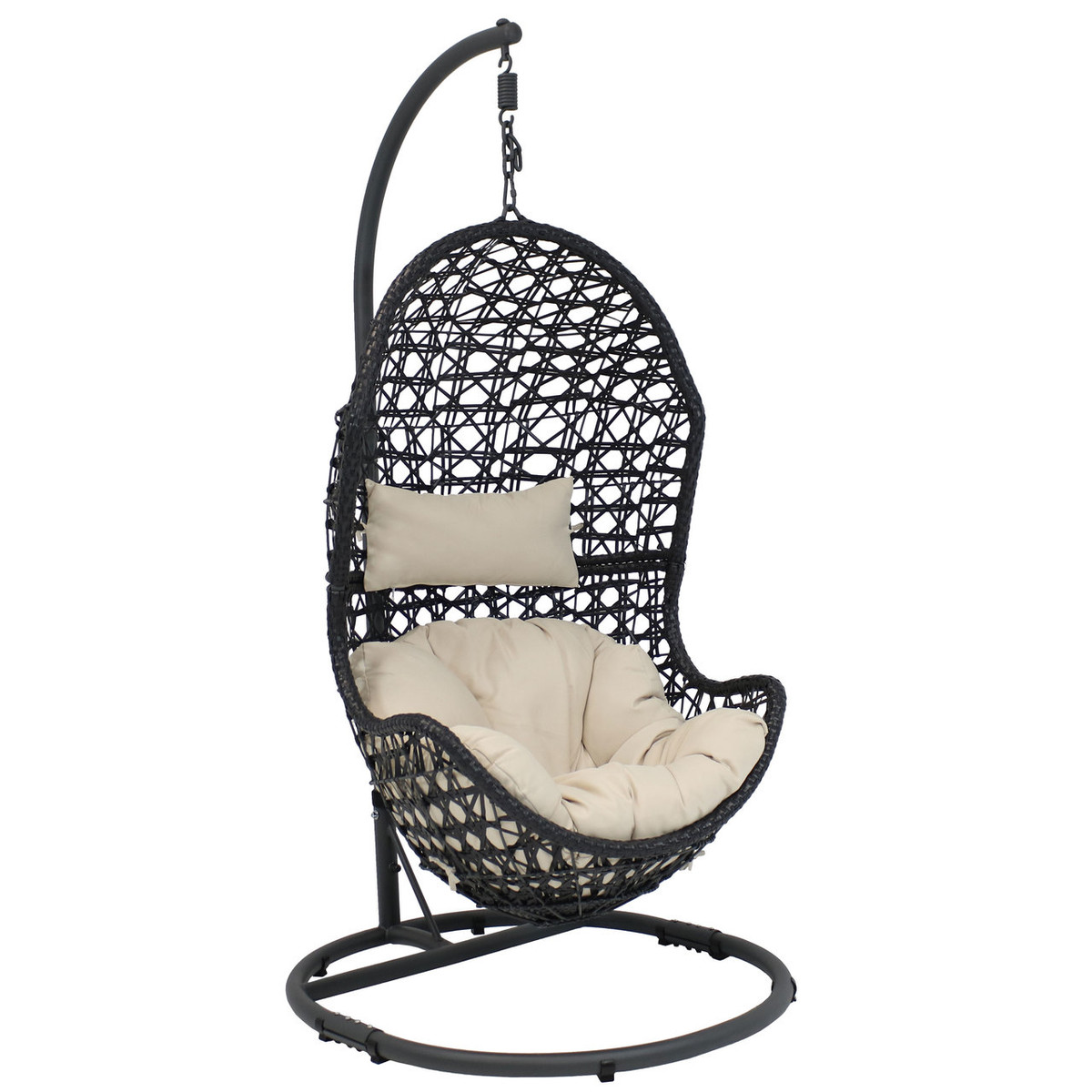 Egg Wicker Chairs Outdoor Sunnydaze Cordelia Hanging Egg Chair With Steel Stand Set Resin