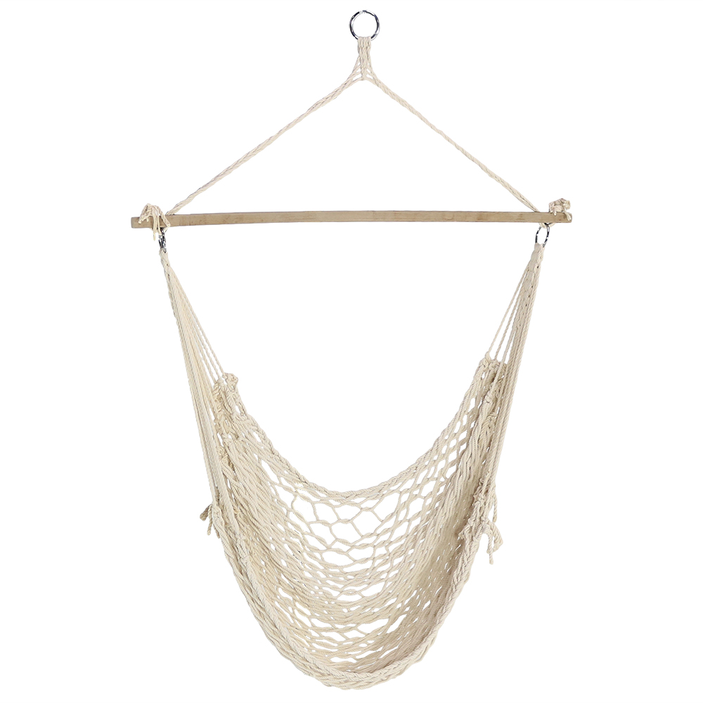 rope chair swing yoga ball sunnydaze 48 hanging cotton hammock inch wide seat max weight 330 pounds