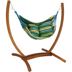 Hanging Hammock Chair Antique Childs Sunnydaze Swing With Sturdy Space Saving Wooden Stand For Indoor Or Outdoor Use Ocean Breeze