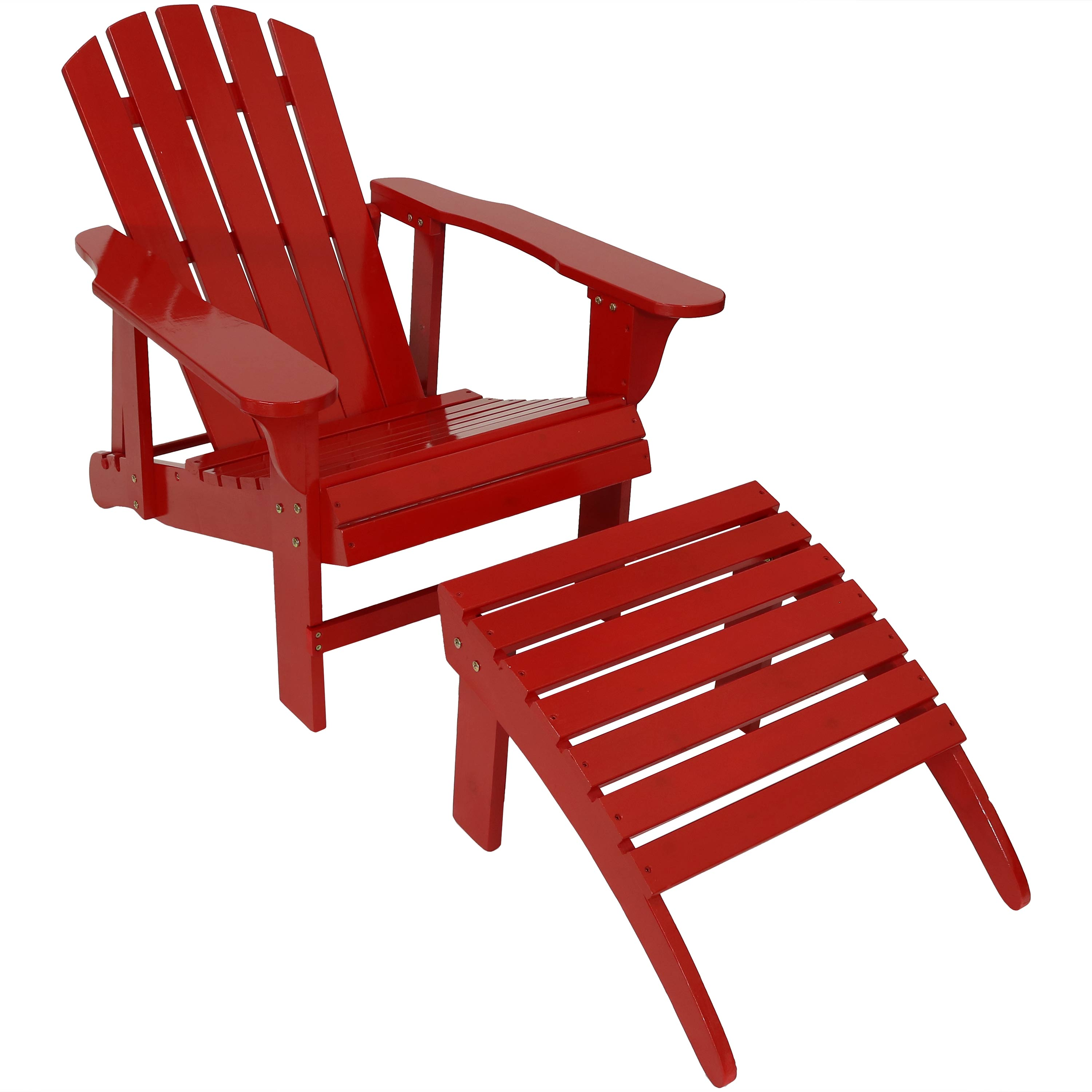 Red Adirondack Chairs Sunnydaze Wooden Outdoor Adirondack Chair With Adjustable Backrest And Ottoman Set Choose Color Option