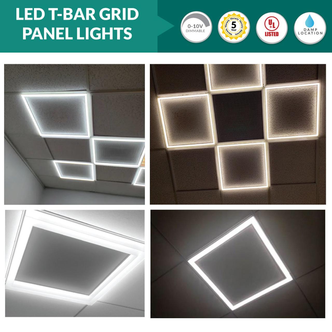edge lit led ceiling tile light 2x2 4000k cool white