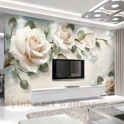 Tv Sofa Large Leather Sectional Sleeper Custom Photo Wallpaper Painting 3d White Rose Flowers Wall Murals Living Room Backdrop Paper Modern Home Decor Onshopdeals Com