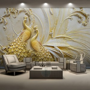walls living painting mural bedroom peacock golden embossed stereoscopic stencil