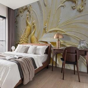 bedroom living walls peacock painting golden mural embossed stereoscopic