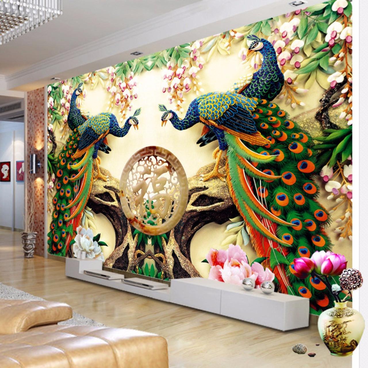 Custom 3d Wall Mural Wallpaper -woven Peacock Living
