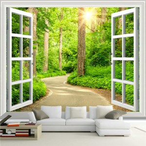 forest sunshine sofa window nature living parati carta mural road landscape finestra tapety parede windows natura behang verde parete natur