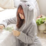 Winter Cute Warm Bathrobes Women Cartoon Bear Rabbit Knee Length Bath Robe Dressing Plus Size Soft Gown Bridesmaid Robes Female Onshopdeals Com