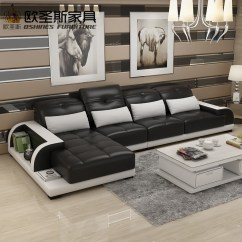L Shaped Black Leather Sofa Set White Loveseat Sleeper Cheers Barcelona And Big Stitching Modern Design Sectional Soft Cow