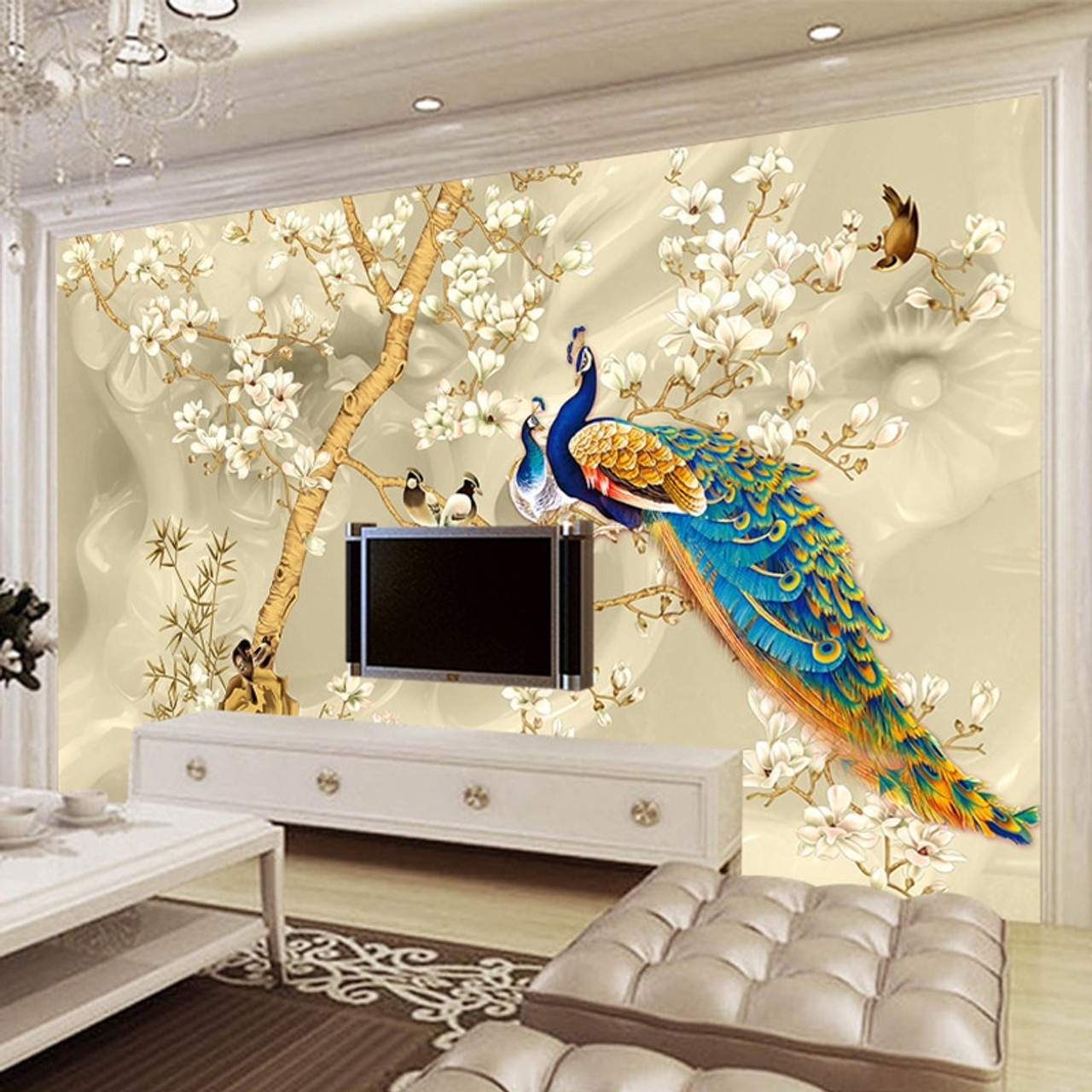 tv sofa toddler flip out big w custom mural wallpaper 3d stereo magnolia flowers peacock wall painting living room background papers for walls 3 d onshopdeals com