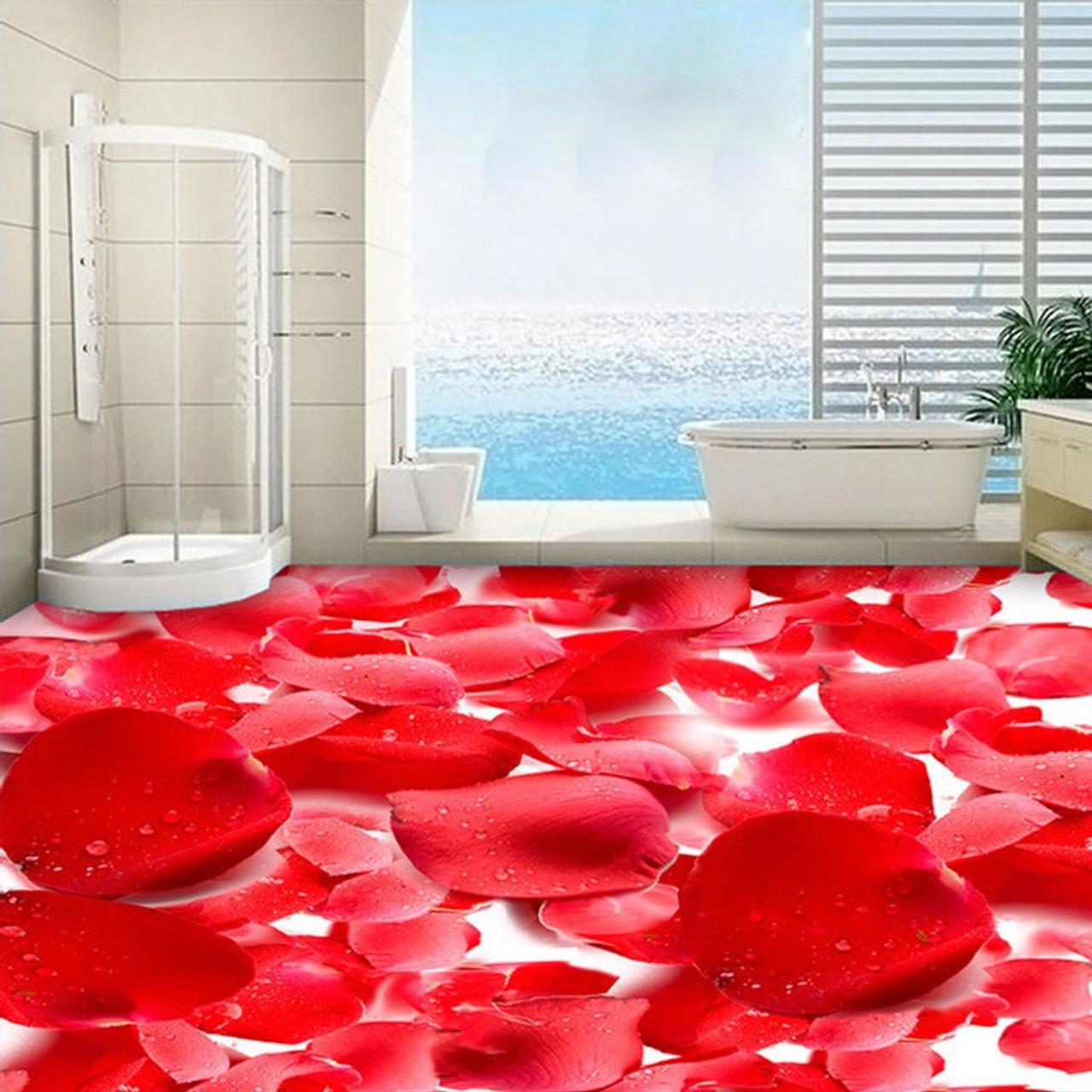 3d Red Flowers Photo Floor Wallpaper Stickers Anti Wear Living Room Bedroom Waterproof Pvc Self Adhesive Vinyl Flooring Murals Onshopdeals Com