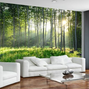 living bedroom nature forest murals scenery covering stencil