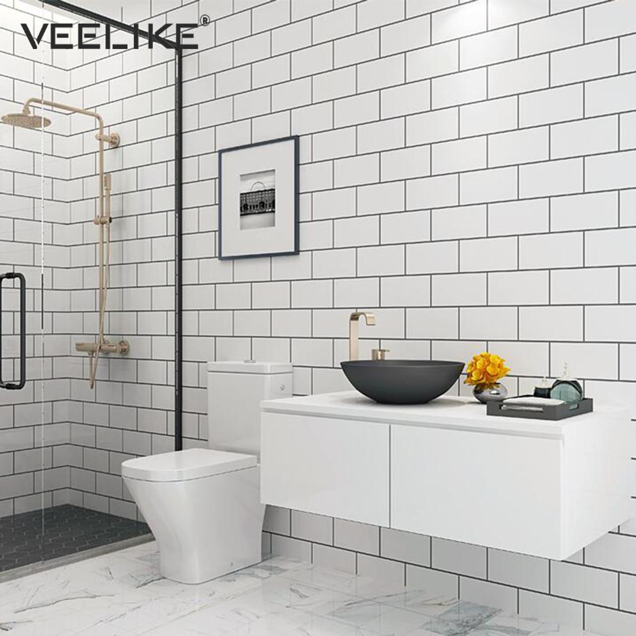waterproof diy pvc vinyl self adhesive wallpaper for kitchen backsplash tile bathroom living room bedroom home decor wall paper