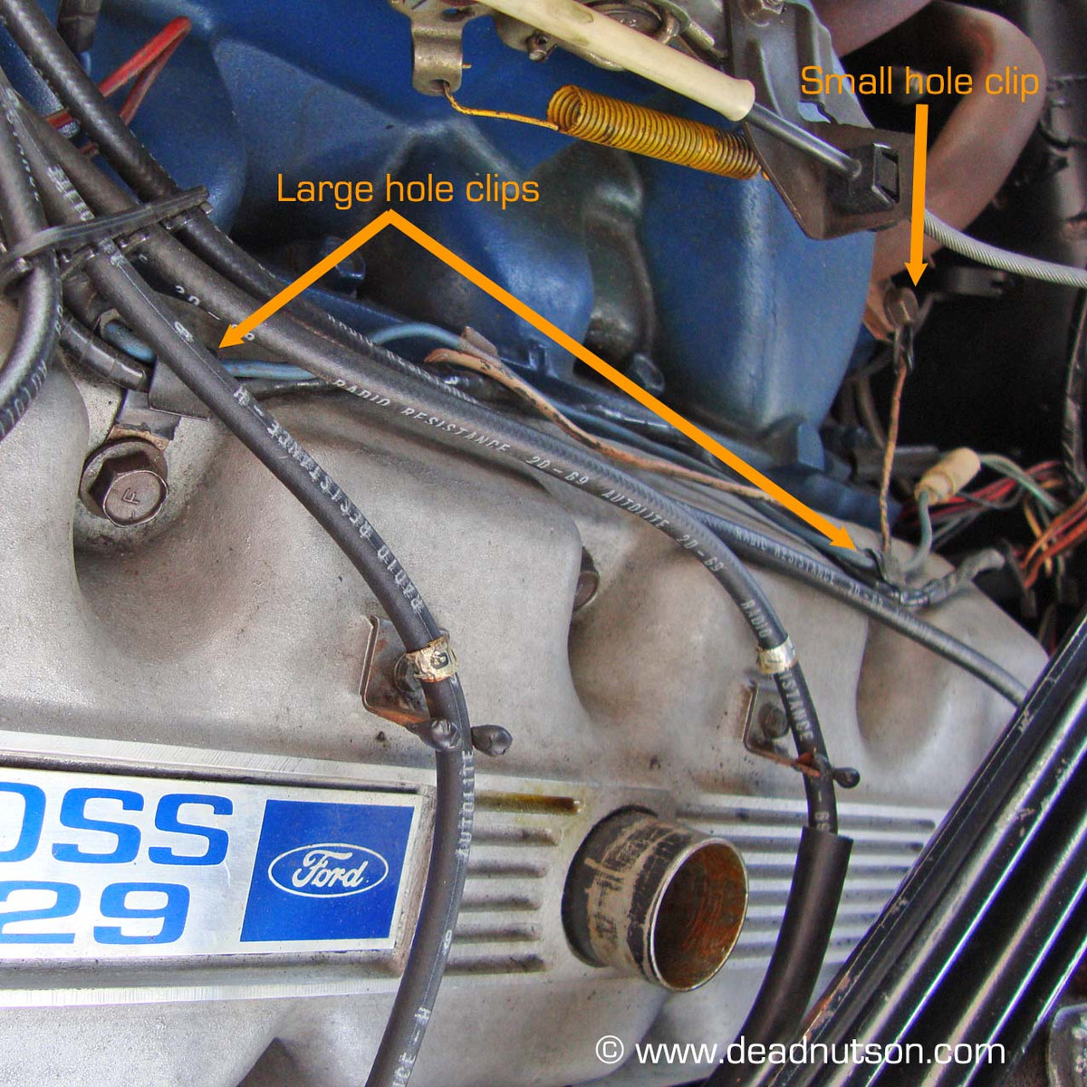 medium resolution of boss 429 engine feed wire harness clips