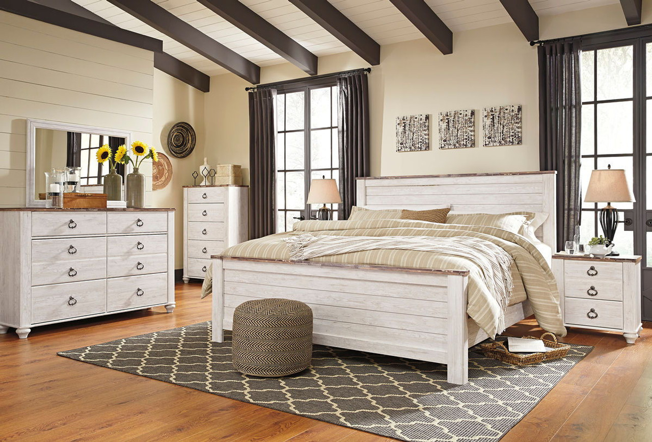 willowton whitewash 8 pc dresser mirror chest king panel bed 2 nightstands