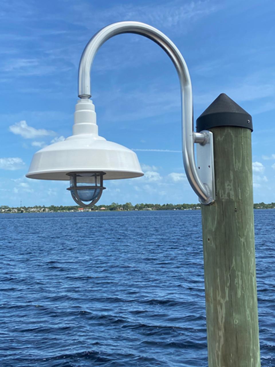 wall mount gooseneck aluminum dock light dome shade w large pad