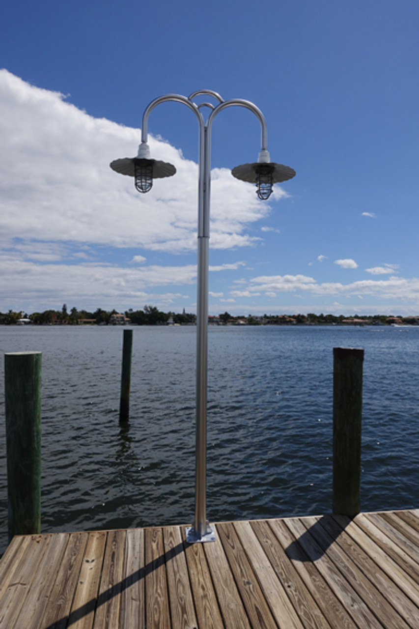 aluminum dual head super heavy duty dock light dual radial shades