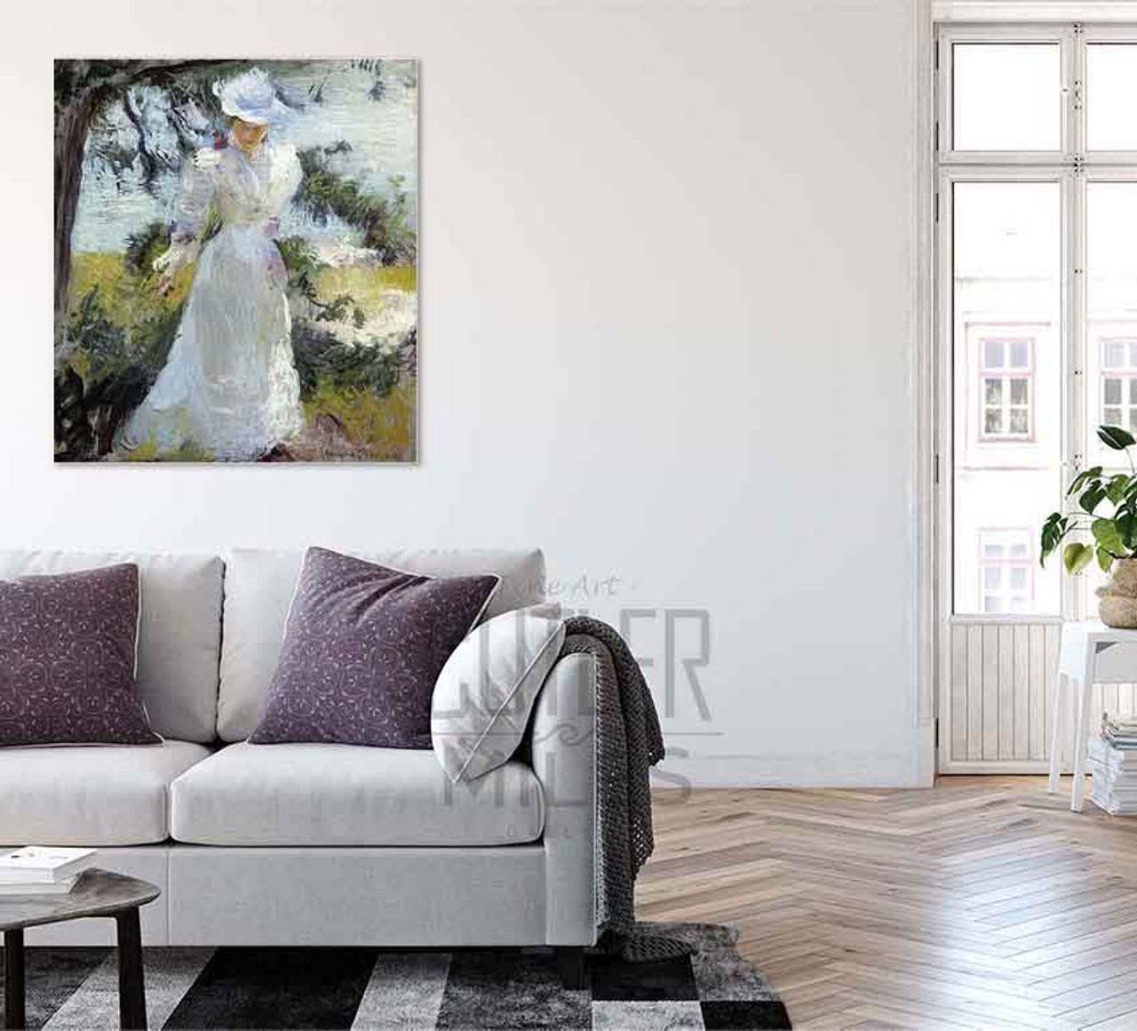 my wife emeline in a garden by edmund tarbell