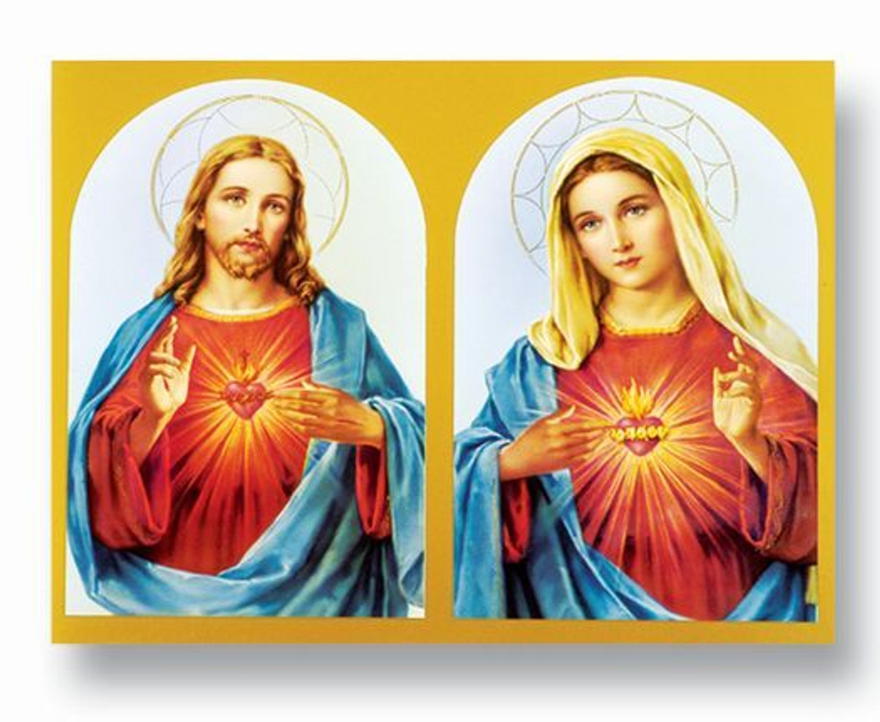 sacred heart of jesus immaculate heart of mary poster 19x27 192191